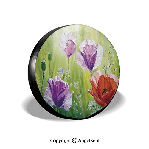 Tire Cover,Sunset Hill with Poppy Dandelion and Daisy Flowers in Fields Artistic,Purple Green and Orange,for Jeep Trailer RV SUV Truck Camper Travel Trailer Accessories,15 Inch