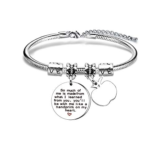 YONGHUI Teacher Charm Adjustable Snake Bracelet Women Bangle Bracelets Jewellery Teacher's Day Graduation Gifts A Great Teacher Is Hard To Find And Impossible To Forget (Style B)