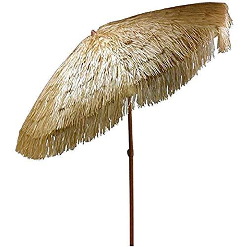 ZMLQ Runder Tiki Raffia Bast Regenschirm Mit Neigungsfunktion Hawaii Hula Imitation Strohdach UPF50+ Für Den Außenbereich Garten Strand Terrasse (Durchmesser 2m / Natürliche Farbe)