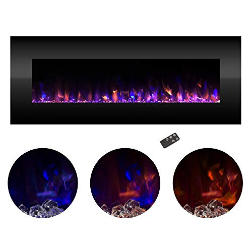 """Northwest Electric Fireplace Wall Mounted Color Changing LED Fire and Ice Flames, NO Heat, Multiple Decorative Options and Remote Control, 54"""""""