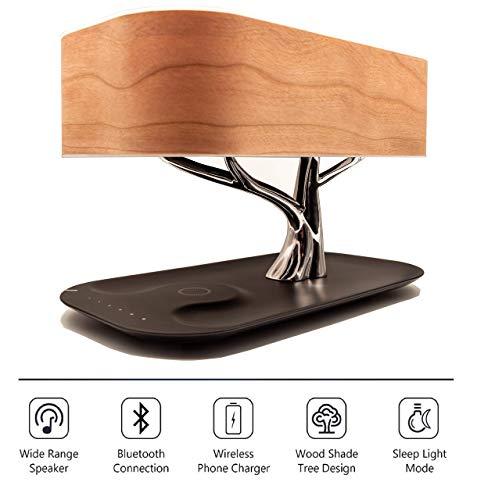 Zaigon Nachttischlampe mit Bluetooth-Lautsprecher - touch dimmbar - Nachttischleuchte mit Schlafmodus + Wireless Charger - Designer Tischlampe – LED – Tischlampe - Deko Schlafzimmer