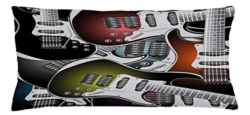 ABAKUHAUS Popstar Party Throw Pillow Cushion Cover, Pile of Graphic Colorful Electric Guitars Rock Music Stringed Instruments, Decorative Square Accent Pillow Case, 36 X 16 Inches, Multicolor
