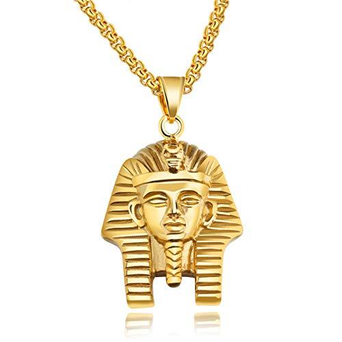 YAMAO Hombre Collar,Collar Collares y Colgantes de Acero Inoxidable de Color Dorado Joyas para Hombres/Mujeres