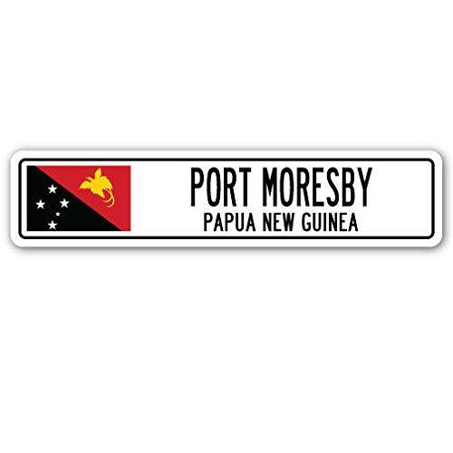 TNND New Port Moresby Papua New Guinea Straßenschild Papua New Guinea Flagge Stadt Straßenschild 10,2 x 40,6 cm