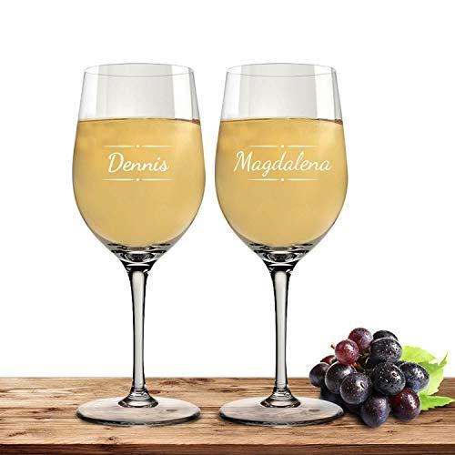 Deitert Leonardo Weißweinglas-Set mit Namen oder Wunschtext graviert, 2er-Set, 300ml, Ciao+, personalisiertes Premium Weinglas in Gastroqualität, (Verzierung 03)