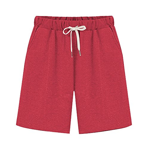 Women's Elastic Waist Soft Jersey Knit Bermuda Shorts with Drawstring Red Tag 3XL-US 10-12