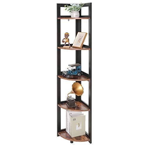 USIKEY Corner Ladder Shelf, 5-Tier Bookcase Accent Etagere, A-Shaped Display Corner Storage Rack ,...