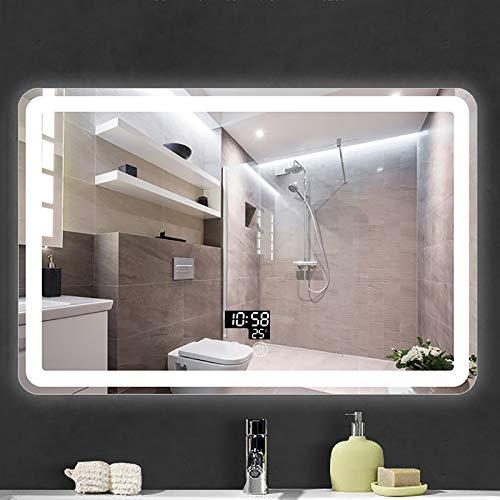 GETZ Espejo de Baño Redondo con Iluminación LED Espejo de Pared con Interruptor de Sensor Táctil de Almohadilla Antivaho y 3 Colores de Luz, Regulable, IP44