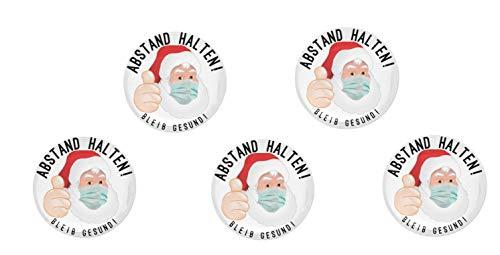 Button Anstecker Weihnachtsmann Set Corona Abstand halten! Nikolaus 59mm mit Nadel-Verschluss an der Rückseite (5 Stück)