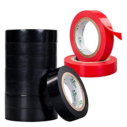 Vegena 10 Rollen Isolierband Elektriker Klebeband, 16mm x 10m Klebeband PVC Electrical Tape Wasserdicht Elektrisches Isolierband Gewebeband Electrical Tape Isolieren Reparatur Elektrisches Klebeband