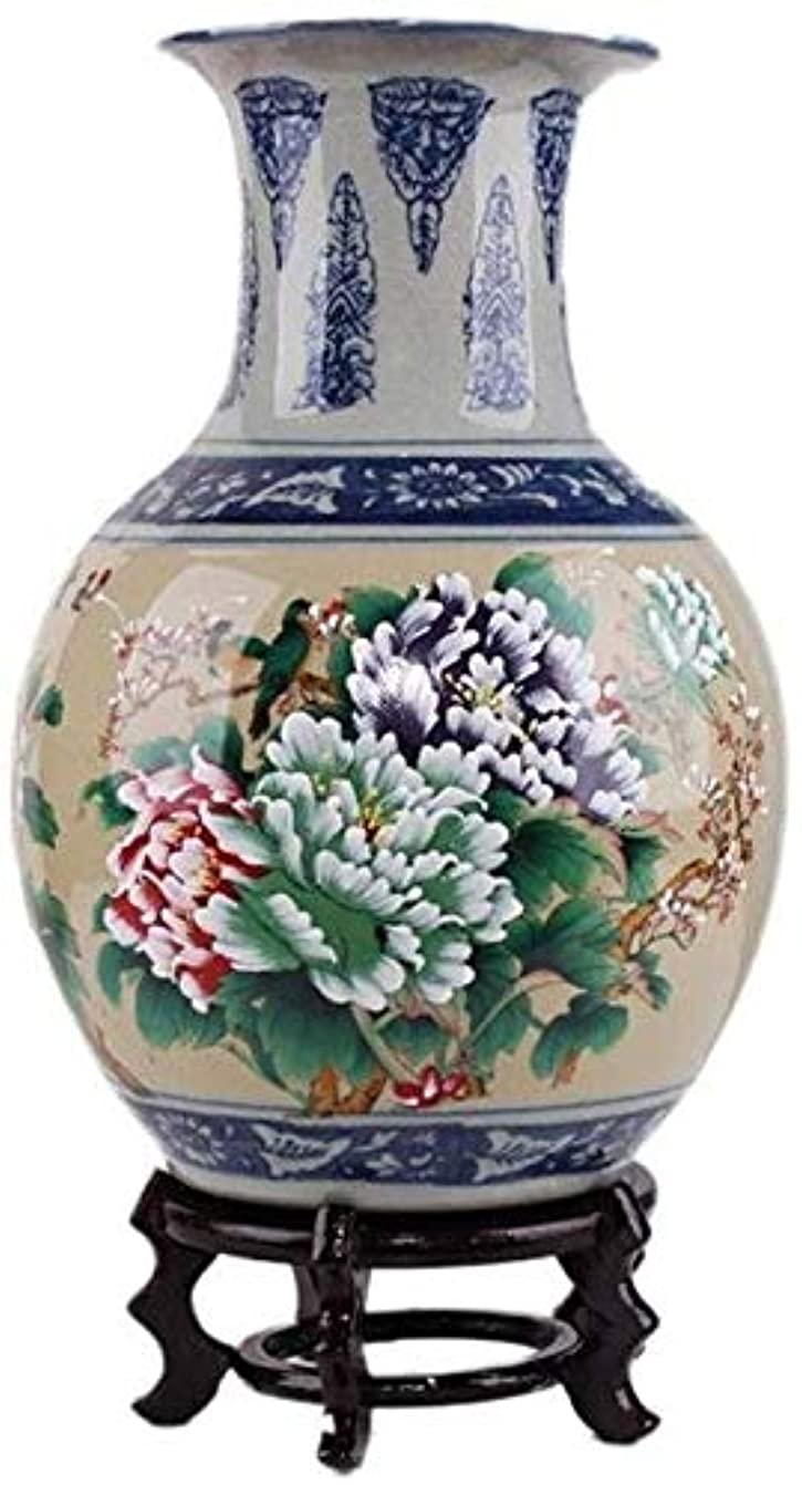 本物足りない王位花瓶 セラミックレトロな花瓶の装飾装飾的なフラワーアレンジメントホーム工芸フェイク花植物フラワー36.5X20cm (Size : 51.5X18cm)