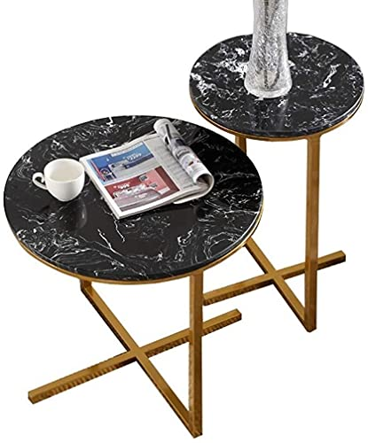 WSHFHDLC mesa de café HJBH mesa anidada 2 se proporciona una mesa circular base de metal sofá cama mesa lateral de mármol mesa familiar sala de estar pequeñas mesas de café
