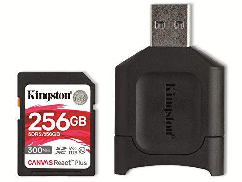 Kingston MLPR2/256 GB Tarjeta SD + Lector de Tarjeta (256 GB SDXC React Plus SDR2 + MLP Lector SD)