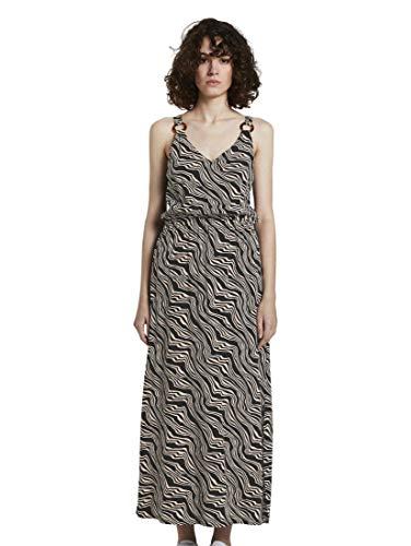 TOM TAILOR Damen Kleider & Jumpsuits Ärmelloses Maxikleid mit Ring-Detail Black Wavy Design,44,23355,2999