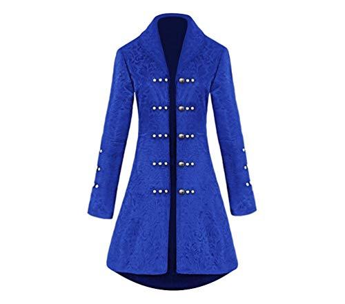 GladiolusA Damen Jacke Frack Steampunk Gothic Gehrock Uniform Smoking Mantel Retro Langer Uniformkleid Langarm Blau XL