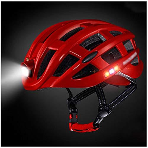 Fietshelm, LED-achtergrondverlichting Fietshelm USB oplaadbare Headlight Fietshelmen Mannen Vrouwen Safety Lamp Fietshelmen,Red