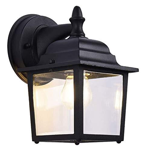 Lámpara de pared resistente Luz LED de pared Negro Linterna, creativas Retro Style Industriales Luz a la pared, pasillo del pasillo blanco cálido moderna Lámpara de pared exterior del accesorio ligero