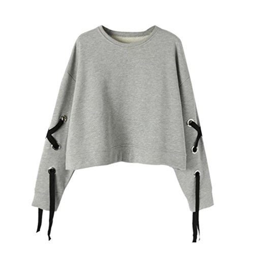 Longra dames T-shirt retro elegante blouse casual losse ronde hals hemd blouse lange mouwen sweatshirt XL grijs.