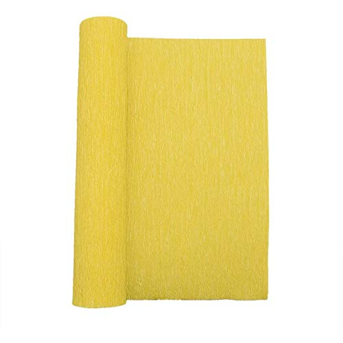 Berrd 250cm 10/15/25 / 50cm Origami Crinkled Crepe Paper DIY Geschenke Blumenverpackung Fold Scrapbooking Basteln für Hochzeitsfeier Dekoration - F16 Goldgelb, 50cm x 250cm