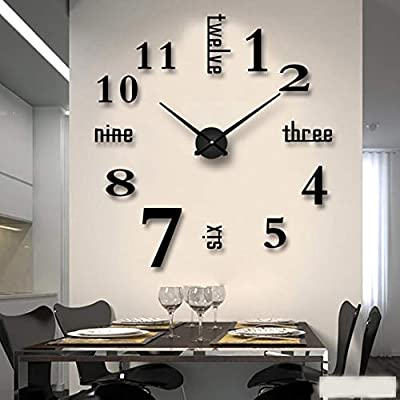 Mirror Surface Decorative Clock 3D DIY Wall Clock for Living Room Bedroom Office Hotel Wall Decoration (Black)