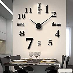 3D DIY Wall Clock Large Size Mirror Surface Wall Decorative Clocks for Living Room Office (Black)