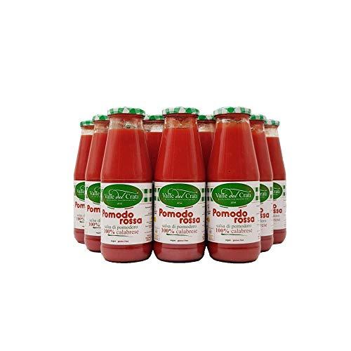 36 Bottiglie Salsa Di Pomodoro Calabrese Naturale Italiano Valle Del Crati Passata Di Pomodori Senza Glutine Prodotto Vegano Ideale Per Sugo e Condimenti Pronta in 5 Minuti Vetro Da 720 Ml