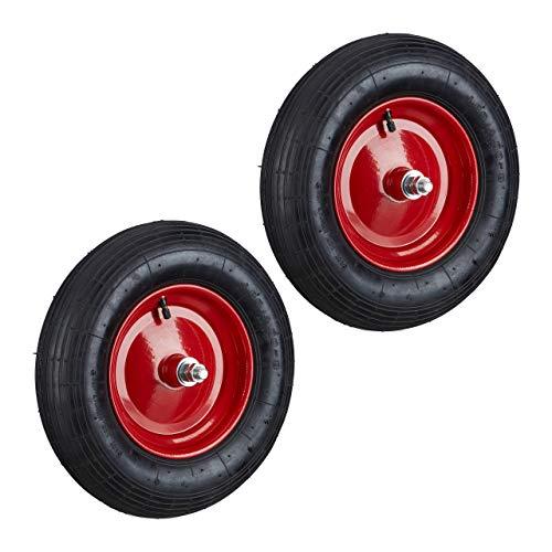 2x Schubkarrenreifen 4.80 4.00-8, Ersatzrad luftbereift mit Achse, Luftreifen 120kg Traglast, Schubkarrenrad, schwarz-rot