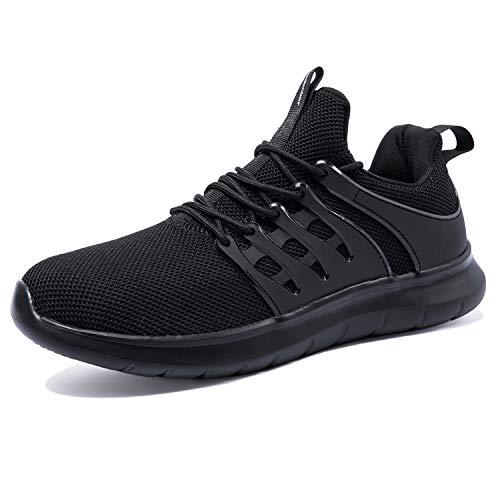 NewDenBer Sportschuhe Herren Atmungsaktiv Turnschuhe Leichtes Sneaker Laufschuhe (50 EU, Schwarz)