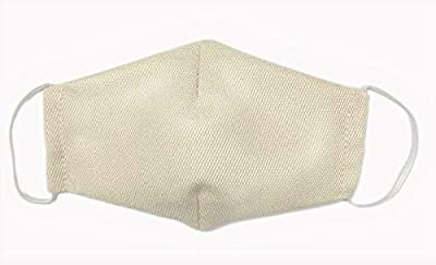 Premium Fabric Face Mask Reusable, Washable, Cotton/Poly/Polypropolene Blend, Double Layer, Protects from Respiratory Droplets, Dust, Other Airborne Irritants (Cream, Medium)
