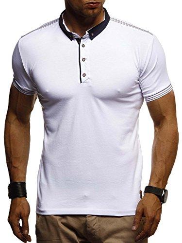 Leif Nelson Herren Sommer T-Shirt Polo Kragen Slim Fit Baumwolle-Anteil Basic schwarzes Männer Poloshirts Longsleeve-Sweatshirt Kurzarm Weißes Kurzarmshirts lang LN1310 Weiss Large