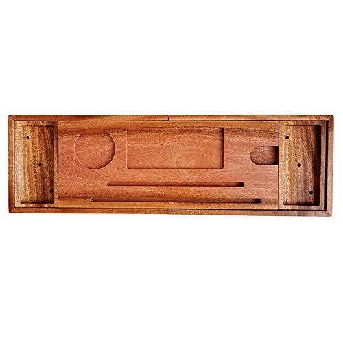 Bandeja de baño para el hogar, organizador de bañera ajustable con soporte para copas de vino, soporte para tableta, bandeja para teléfono adecuado para la mayoría de baños de 70 a 105 cm (C)