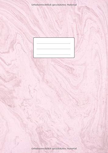 Notizheft DIN A4: 110 Seiten liniert ohne Rand | Lineatur 21 Notizbuch gebunden | Ideal als Journal, Tagebuch, Schulheft, Collegeblock, Heft für Notizen | Glanz Softcover Rosa Marmor