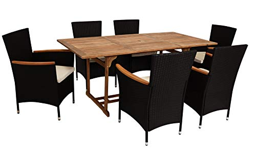 DEGAMO Gartengarnitur MONTREUX II 7-teilig, 6X Sessel Polyrattan schwarz mit Armlehnen aus Akazien Holz, 1x Tisch Akazie 90x180cm rechteckig