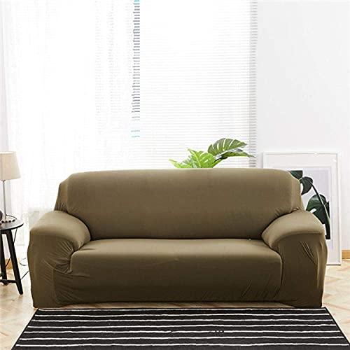 Funda de sofá en Forma de L Funda de sofá, Color sólido para Sala de Estar Estiramiento de Muebles con Todo Incluido Fundas-Army Green_190-230cm, Protector de Muebles de sofá seccional