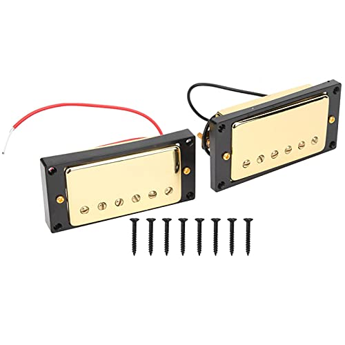 Pastilla de guitarra eléctrica Pastilla de cerámica con imán amarillo negro, para guitarra eléctrica LP(Black frame)