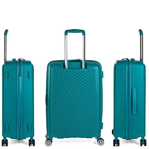 ITACA - Maleta de Viaje Mediana 4 Ruedas Trolley. 65 cm Rígida de Polipropileno. Resistente Práctica Cómoda Ligera Marca. Candado TSA. 760060, Color Turquesa