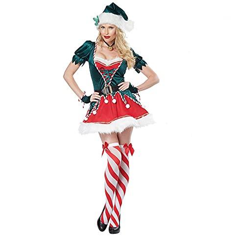 Disfraz de Elfo de Navidad para mujer con calcetn de terciopelo de lujo clsico de la seora Claus Santa Cloak de felpa con capucha de capa, B-no Stocking, L