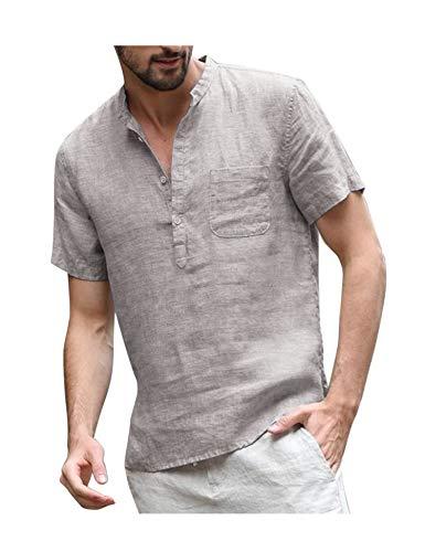 COOFANDY leinenhemd Herren Kurzarm Sommer Stehkragen Casual Leicht Freizeit Leinen Tshirts für Männer Grau XL