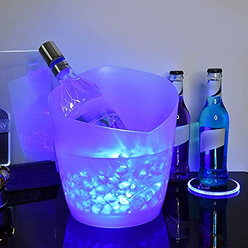 Secchiello per Champagne Luminoso Secchiello per Il Ghiaccio LED 5L, Secchiello per Il Ghiaccio Illuminato A LED, Portaghiaccio LED 5L per Champagne, Vino, Bevande, Birra - per Bar, Feste Blue