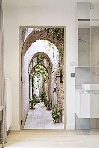 FLFK 3D Camino arqueado a Jardines PVC Adhesivo Fotográfico Vinilos Puerta Pegatina Pared Murales para Cocina Sala de Baño Decorativos 77X200cm