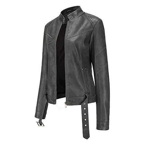 Chaquetas de cuero cortas para mujer, cuello alto, chaqueta de piel sintética con cinturón clásico con cremallera para motociclista chaqueta vintage Outwear entallada N777