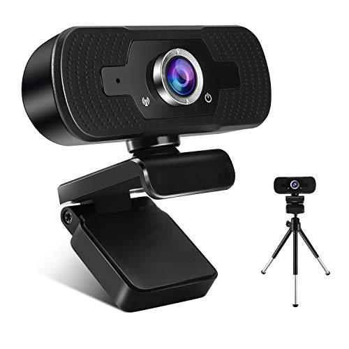 FEIMUOSI Webcam con Microfono, Webcam Streaming 1080P HD con Treppiede per PC Laptop Mac Videocamera Web Girevole Plug And Play USB per Videochiamate Registrazione Conferenze Supporta i Giochi