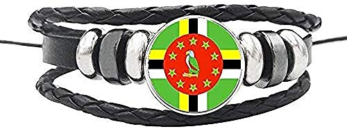 YOUZYHG co.,ltd Collar Bahamas Panamá Cuba Haití América Central Bandera Nacional Pulsera Cuerda de Cuero Botones de cúpula de Vidrio Brazalete
