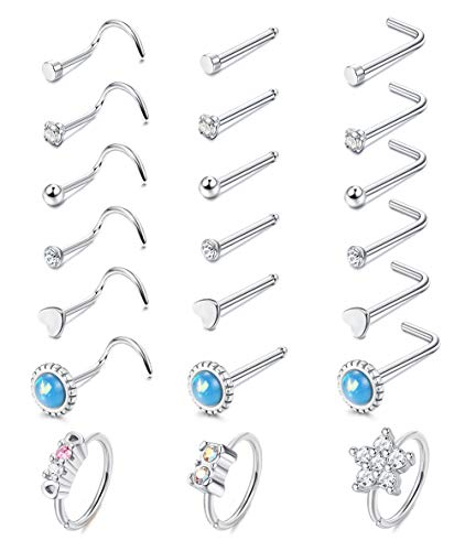 ORAZIO 21 Pcs Nose Rings for Women Nose Studs Nose Rings Hoop 20G Piercings Jewelry Screw 316L Stainless Steel for Women Men