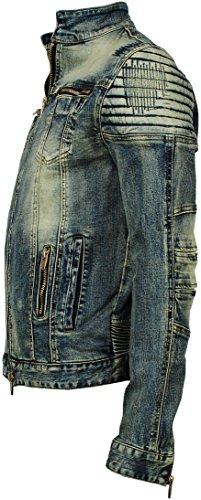 Angel Cola Men's Biker Slim Fitted Distressed Washed Denim Jacket Vintage S