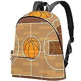 Bolsa de baloncesto para estudiantes universitarios con patrón de cancha de baloncesto, se adapta a una mochila para portátil de 15,6 pulgadas, mochila de viaje al aire libre, mochila universitaria