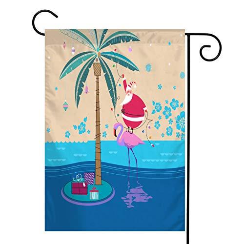 BEISICC Christmas Vertical Double Sided Burlap Garden Flag,Santa and Flamingo,House Yard Outdoor Farmhouse Holiday Flag Christmas Decoration,Burlap 28x40 in