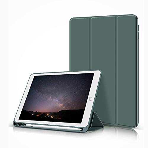 ZOYU iPad 10.2 Case 2020/2019 with Pencil Holder,Slim Lightweight Trifold Stand Smart Shell Soft TPU Back Cover,Auto Sleep/Wake for iPad 10.2 inch 8th&7th Generation (Dark green)