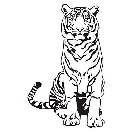 Pegatina de pared con cita, pegatina para niños, tigre sentado en el suelo, cita para de vidrio para tienda, pegatinas con citas inspiradoras modernas, imagen decorativa para casa, 25,8x40,8 cm