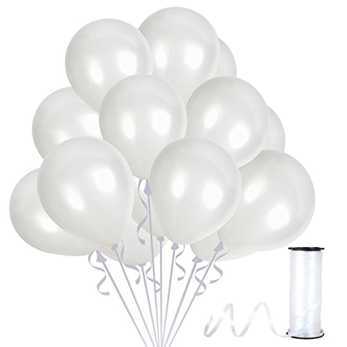 Treasures Gifted 4th of July Party Kit 12 Inch Pearl White Metallic Latex Balloons Premium Quality Bouquet for Arch Column Stand School Wedding Baby Shower Birthday Party Decorations (36 Pack)